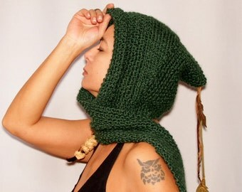 Green Knit Hood Hat, Hooded Scarf, Hood Scarf, Scoodie, Knit Hood, Hunter Green Hat, Leather Fall Leaves, Unique Winter Accessories