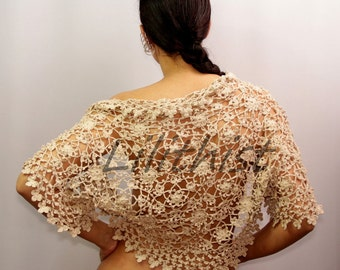 Wedding Shrug Bolero, Bridal Lace Shrug, Linen Crochet Shrug, Beige Wedding Lace Bolero, Boho Bride Shrug Cape Flower Bolero / Made To Order