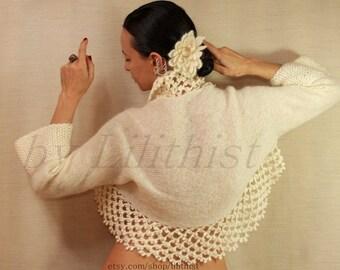 Ivory Shrug, Knit Bolero, Crochet Shrug, Wedding Bridal Shrug Bolero, Crochet Bolero, Knit Shrug, Wedding Cover Up, Lace Shrug, S - M - L