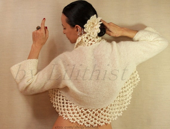 SALE Ivory Shrug Bolero, Bolero Jacket, Knit & Crochet, Sweater, Cardigan, Wedding Bridal, Lace, Cover Up, Warm, Winter Knit Wear S - M - L