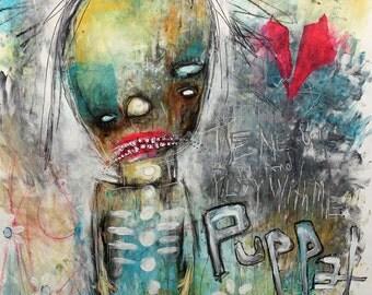 Abstract Puppet Clown Portrait, Original Art Print. Carnival wall art, whimsical art. creepy cute figure, Outsider Art, Raw art, Art Brut