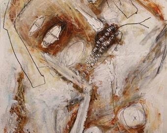 Raw Outsider Art Print, modern art print, Gothic wall art, eerie face painting, creepy snake, artbrut, scribbles, strange expressionist art