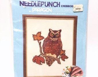 Vintage Needlepunch, Embroidery Kit, Great Horned Owl, Paragon Needlework, Woodland Craft Kit, 80's Needlepunch Kit, Owl Embroidery Kit