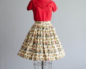 50s Novelty Print Skirt - Vintage 1950s Skirt - Amish Country Skirt