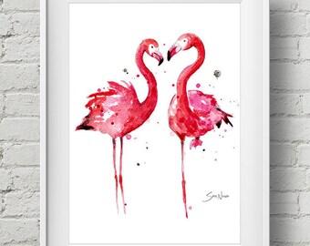 Pink Flamingos: print
