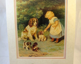Vintage Victorian Dog Child Print Old Picture Print Early 20th Century Book Illustration Antique Reproduction Spaniel Puppies 11 x 14 in