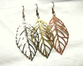 From USA Choose Your Elegant Leaf Filigree Earrings - Surgical Steel French Hooks