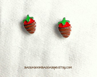 Chocolate Dipped Strawberry Stud Earrings - Surgical Steel Posts