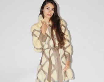 Vintage 1960s Fox Fur Leather Coat - 60s Boho Patchwork Long Jacket - Vintage Hippie Coats -  WO0231