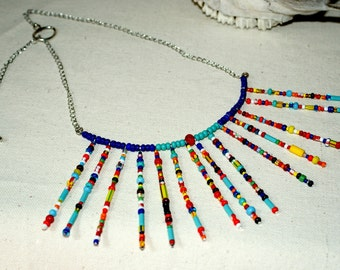 Colourful Trade  Bead,    Wire,  Fringe and Chain     Fashion  Fun Necklace