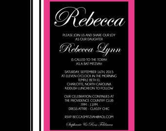 Elegant Pink and Black Bat Mitzvah Invitation with Stripes