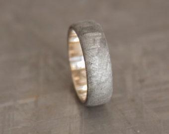 Meteorite ring // Gold Meteorite ring // White gold wedding band // Wedding Ring // Engagement Wedding