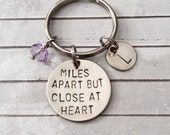 Miles Apart But Close At Heart - Keychain, Necklace, Best Friends, Couples, Long Distance, Gift, Best Friend Gift, Best Friend Necklaces