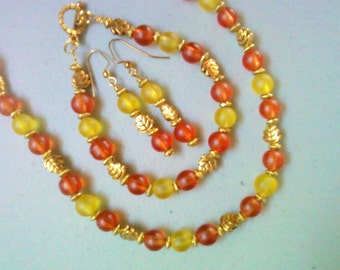 Orange and Yellow Necklace, Bracelet and Earrings (0526)