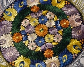 Lovely Hungarian hand-stitched silk Matyo embroidery - bright and vivid lavenders, greens, oranges and blues on black ground.