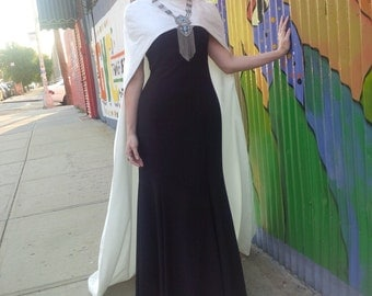 Ivory White Silk Cutaway Cape, Cream Wedding Train, Modest Bridal Coverup for Weddiing Dress