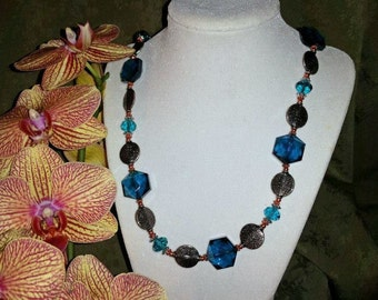 Teal Blue Octagon Necklace with Silver Accents
