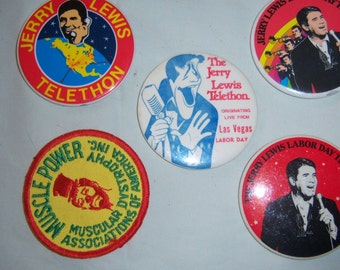Jerry Lewis Telethon buttons plus patch-from the 1970's and earlier