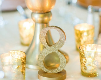 Glitter Table Numbers for Wedding Decor, Table Number Signs for Wedding Table Decor, Freestanding Gold Table Numbers Wedding (Item - GLI125)