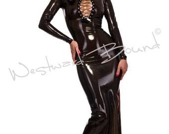 Femme Latex Rubber hobble Dress COUTURE HANDMADE R605