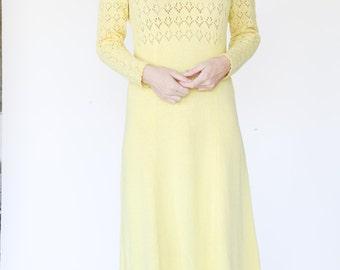 Buttercup yellow knit crochet Maxi Dress by Picardo