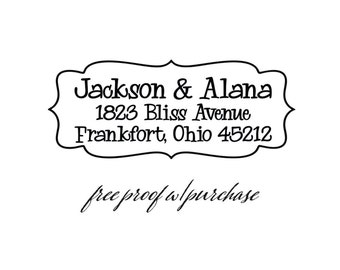 Custom Return Address Stamp featuring and fun & whimsical font.  Pick mounted with handle or self-inking address stamp.  2 1/2 x 1 (20349)