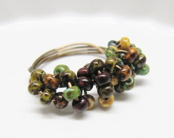 Red, Black, Dark Green, Old Gold, and Turquoise Antique Bronze Wire Wrapped Ring, Rustic Beaded Ring