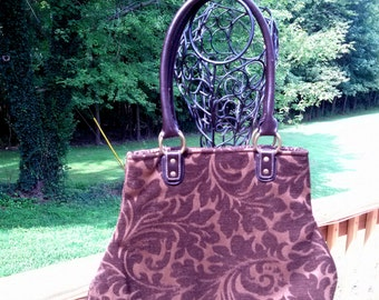Dark Chocolate Brown Cut Chenille Damask Fabric Handbag Purse