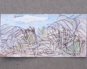 """Abstract desert landscape: Ink and ceracolors encaustic on paper, 4.5"""" x 9"""", Utah landscape with brush and hills"""