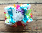 Hippo Birthday Boutique Style Hairbow Hot PInk Orange Lime Green Turquoise Multi Colored Polka Dots