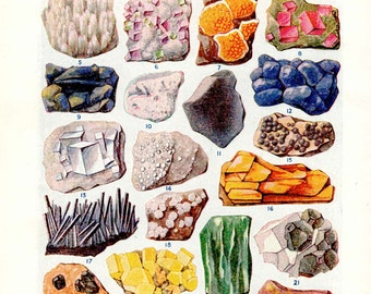 Minerals and crystals print, metals and ores, vintage print for framing