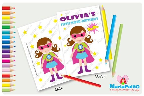 6 Superhero Girl Coloring books, Super Girl Birthday Party ...