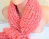 Sale! Knit  Fashion Scarf Cowl Neckwarmer with Glitter and Crochet Flower Scarflette Ready to Ship Gift For Her  Valentine's Day Gift