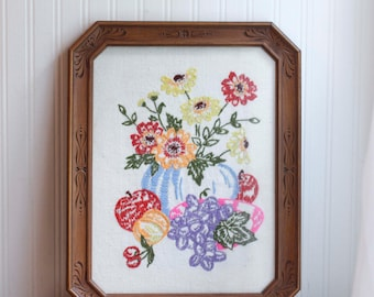 Vintage Fruit Flowers Still Life  Needlework, Embroidered Kitschy Decor, Hand Embroidery, Bright Color Kitchen, Vintage Wall Art