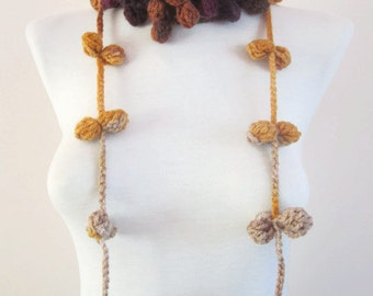 Hand crochet Lariat Scarf  purple yellow Flower Lariat Scarf Colorful Variegated Long Necklace  winter fashion christmas