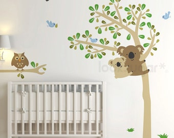 Koala Tree Wall Decal. Koala Wall Decal for Baby Nursery or Kids Room. Baby Nursery Wall Decal by looksugar. Owl Tree Wall Decal. LSWD-0058