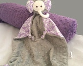 Gray and Lavender Security Blanket, Lovey, Girl Baby Blanket, Minky Elephant Stuffed Animal, Plush Kids Toy for a Baby Girl