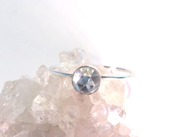 Blue Topaz Ring, Pale Sky Blue Topaz, Blue Topaz Stacking ring, December Ring, silver stacking ring, December Birthstone ring, Topaz Ring