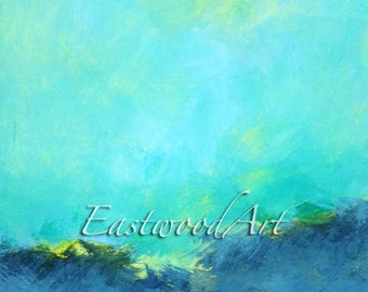 """Original Abstract Painting Blue Green Grey Small Art ACEO  6 x 6 """"Wild"""""""