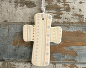 Stripes Dots Spots Small Cross Ornament Hand Painted Neutral Pale Colors