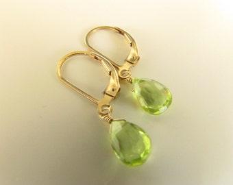 Petite Peridot Earrings , Gold Filled Earrings, Delicate Jewelry, Semiprecious Stones, Drops