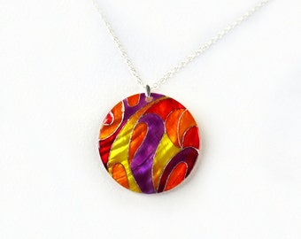 Multicolor pendant, colorful painted by hand necklace, statement jewelry