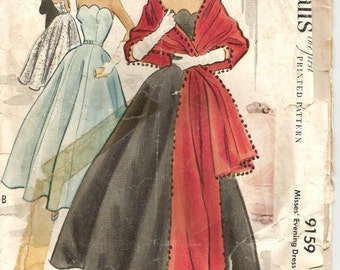 1950s Strapless Evening Gown and Stole Scalloped Bodice Featherbone Stays Full Skirt McCall's 9159 Bust 36 Women's Vintage Sewing Pattern