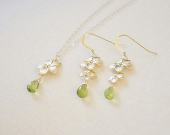 Gold Plumeria Flowers Jewelry Set with Green Peridot Gemstones - Necklace and Earrings, August Birthstones, Nature Inspired, Hawaii Jewelry