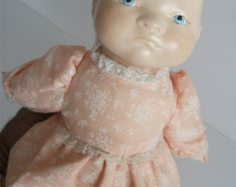 "1930' Antique Composition Doll, 12""/ vintage collectible doll from 1930s (Bye Lo BABY Doll Grace Putnam?)  rare  collectible!!"