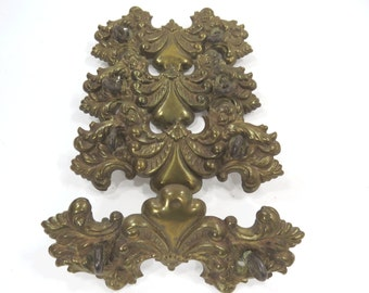 4 Vintage Brass Metal Drawer Pull Mounting Plates, Missing Handles Escutcheon Furniture Decor