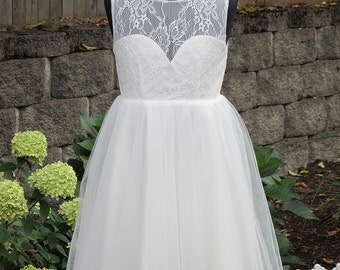 Flower girl dress lace bodice tulle skirt