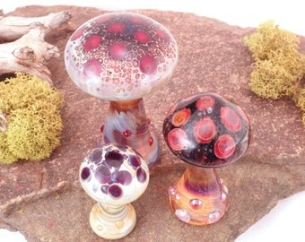 WILD MUSHROOMS Art Blown Glass Red and Black Lampwork Borosilicate Miniature Curio Cabinet Keepers Desk Sculptures Set of 3  (Free Shipping)