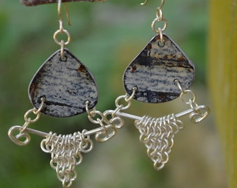"Upcyced Silver Ceiling Tin & Sterling Silver Chainmaille Earrings Combine into ""Salvaged"" Euro 4 in 1 Weave - ReaganJuel: Tin31"