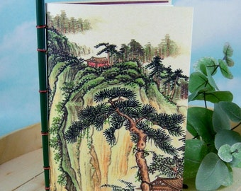 Serene Mountain Scene Meditation Journal from Vintage Chinese Calendar Watercolor Painting